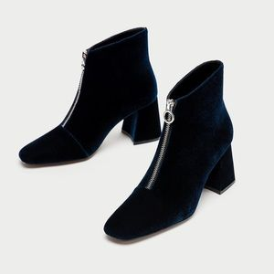 Chunky High Ankle Boots with zip Navy Blue Velvet